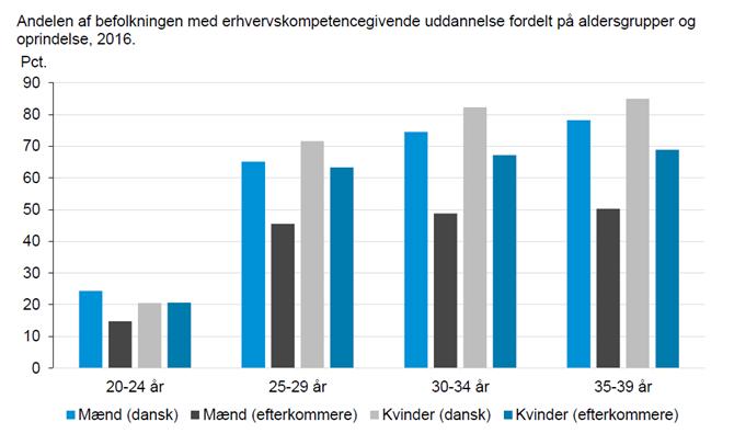 Andelen af befolkningen med erhvervskompetencegivende uddannelse fordelt på aldersgrupper og oprindelse, 2016