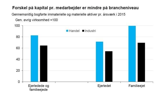 Forskel på kapital pr. medarbejder er mindre på brancheniveau