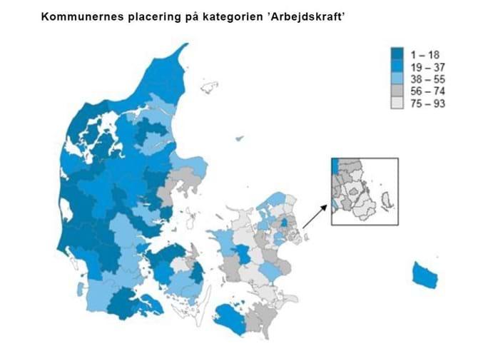 Kommunernes placering på kategorien 'Arbejdskraft'